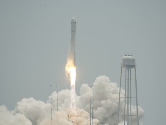 In a photo provided by NASA, the Orbital Sciences Corporation Antares rocket launches with the Cygnus spacecraft aboard, on Sunday from NASA's Wallops Flight Facility in Virginia. Bill Ingalls/AP