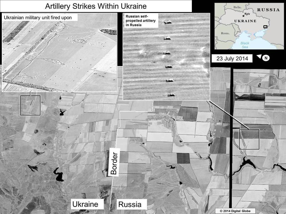 Image released by the U.S. State Department showing what it says is evidence of Russia firing artillery into eastern Ukraine. U.S. State Department
