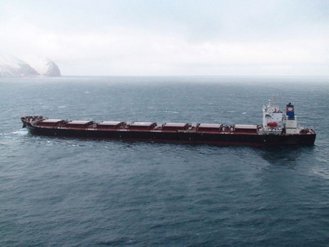The 738-foot cargo vessel Golden Seas was at risk of running aground on Adak when it lost power in December 2010. The ship was towed to Unalaska by an icebreaker that happened to be in town. (Photo courtesy Marine Exchange of Alaska)