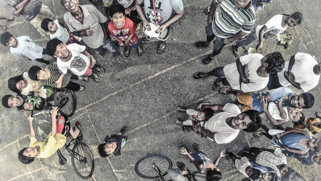 The drone operator who took this photo normally takes images from far above this height. But a trip to a park in Manila drew a crowd.  jericsaniel/Dronestagram