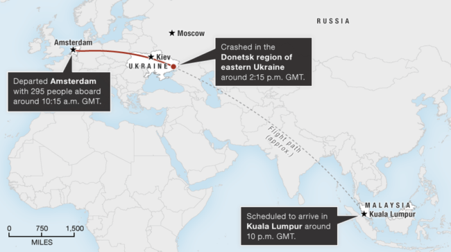 Map showing the flight path of Malaysia Airlines MH17. Alyson Hurt/NPR
