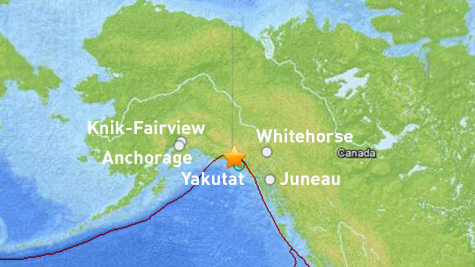 The Alaska Earthquake Information Center says the earthquake occurred at 3:49 a.m. Thursday in an area about 62 miles northwest of Yakutat. (Map courtesy U.S. Geological Survey)