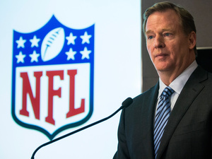 NFL Commissioner Roger Goodell, shown here in January, has sent an open letter to NFL team owners explaining the league's new policies for preventing and punishing domestic violence and sexual assault. Andrew Burton/Getty Images