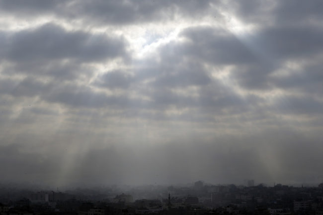 Gaza City, northern Gaza Strip, is seen shortly before the start of a proposed cease-fire on Friday. Lefteris Pitarakis/AP