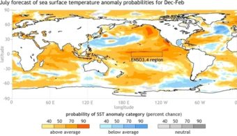 A NOAA map shows the forecast for sea-surface temperatures for the months of December-February, 2014-2015. Climatologists say there's a 65 percent chance of an El Nino forming. CPC/NOAA