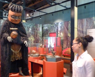 interpreter Kerry Small talks her people's history at the Nisga'a Museum. The Nisga'a Government recently signed an agreement with the controversial KSM Mine project.  (Ed Schoenfeld, CoastAlaska News)