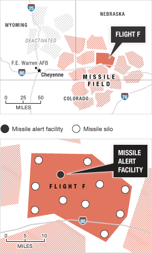 "The base's 150 missiles are divided into ""flights"" labeled with letters. NPR visited Flight F (Foxtrot). Source: Historic American Engineering Record Credit: Alyson Hurt / NPR"