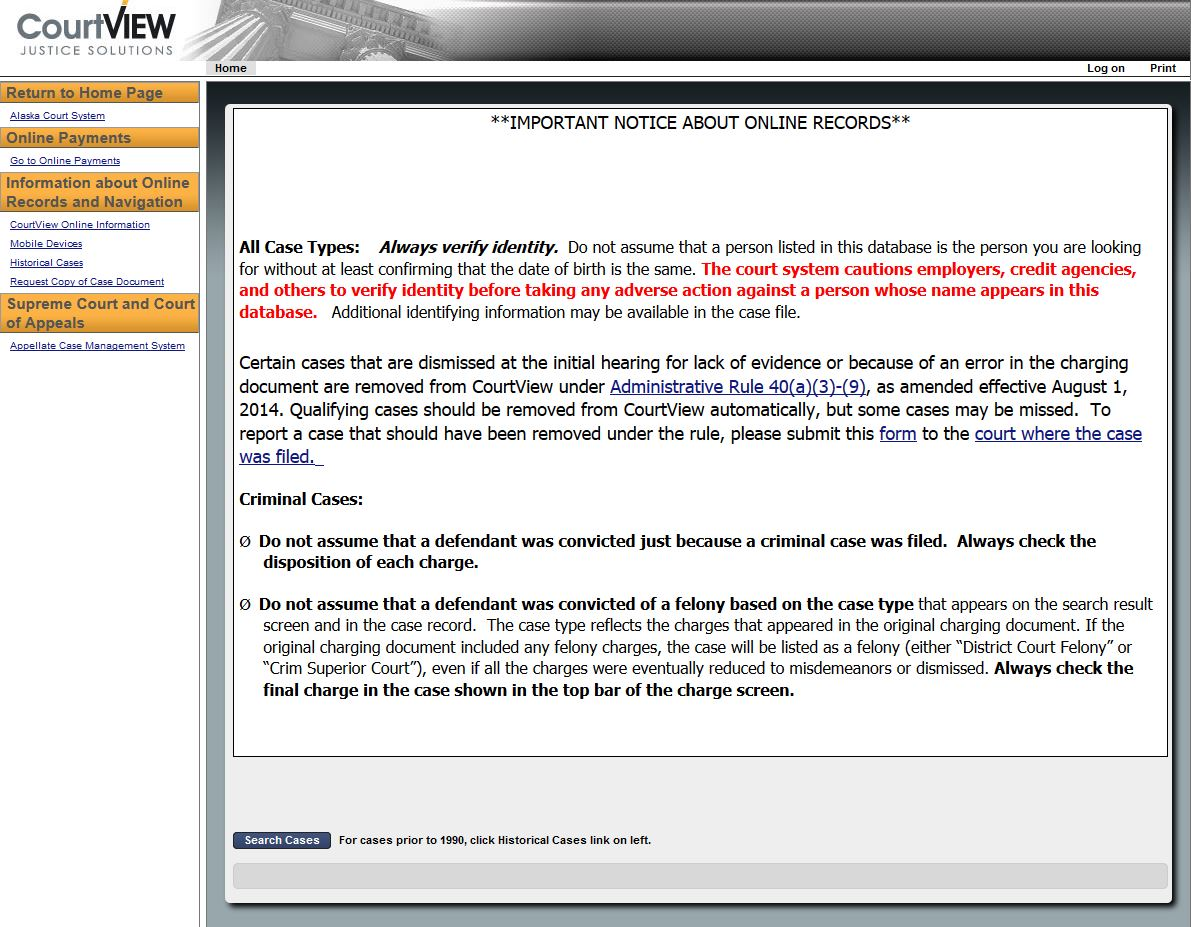 The bill would have removed charges that didn't result in convictions from the database. (Screenshot of the CourtView homepage)