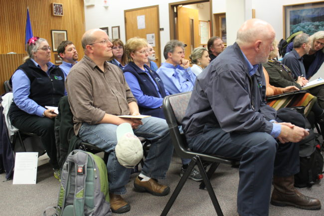 Even though there's no public comment at Assembly work sessions, nearly a dozen Capital Transit bus drivers attended the meeting. (Photo by Lisa Phu/KTOO)