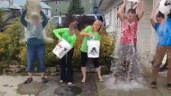 The Viking Travel team in Petersburg take on the Ice Bucket Challenge. (Photo courtesy Viking Travel)