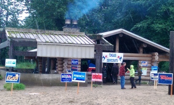 Tongass Democrats' hosted primary candidates at Sandy Beach on Sunday. (Photo by Rosemarie Alexander/KTOO)