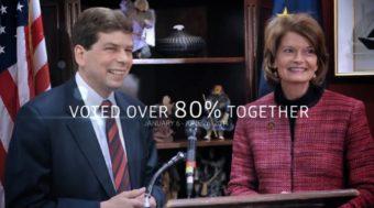"""Still from Mark Begich's """"Great Team"""" ad."""