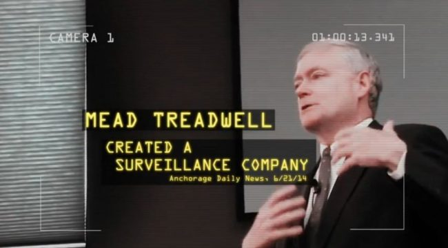 "Still from Put Alaskans First Ad that says Treadwell founded technology companies that are ""helping the government erode privacy."" (Courtesy Put Alaskans First/YouTube)"