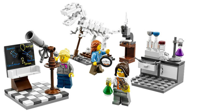 "A product image shows the new Research Institute playset from Lego, which features women in roles as three scientists. In January, the company was criticized by a girl who said all its female characters were ""boring."" Lego"