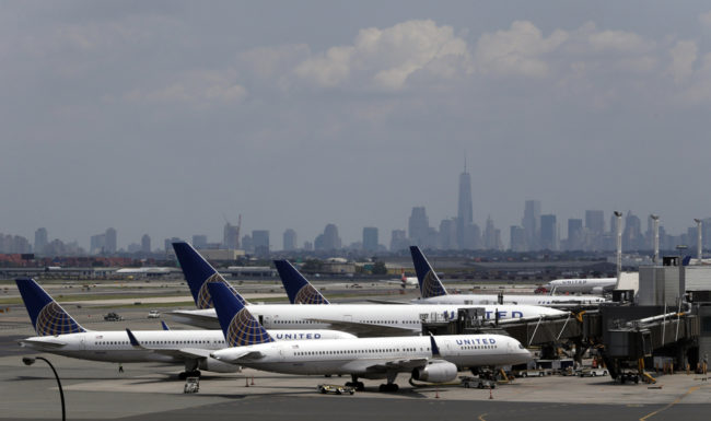United Airlines jets are seen at the gate at Newark Liberty International Airport. Julio Cortez/AP