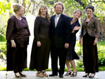 Kody Brown poses with his wives (from left) Janelle, Christine, Meri and Robyn in a promotional photo for TLC's reality TV show Sister Wives. Bryant Livingston/AP