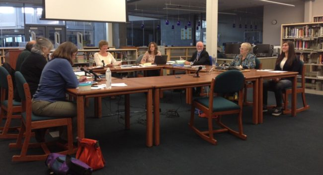 Tuesday's Juneau school board meeting was the first with new superintendent Mark  Miller. (Photo by Lisa Phu/KTOO)