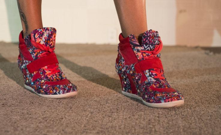 glittery sneaker heels