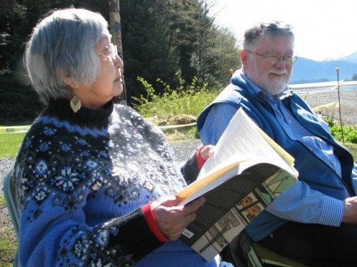 Nora and Dick Dauenhauer in Sitka in May. (Photo by Emily Forman/KCAW)