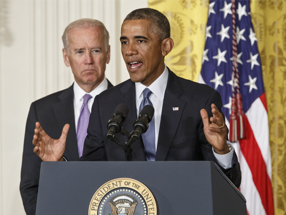 "President Obama and Vice President Biden on Friday debuted the ""It's On Us"" campaign to help colleges and universities prevent and respond to sexual assault on campus. J. Scott Applewhite/AP"