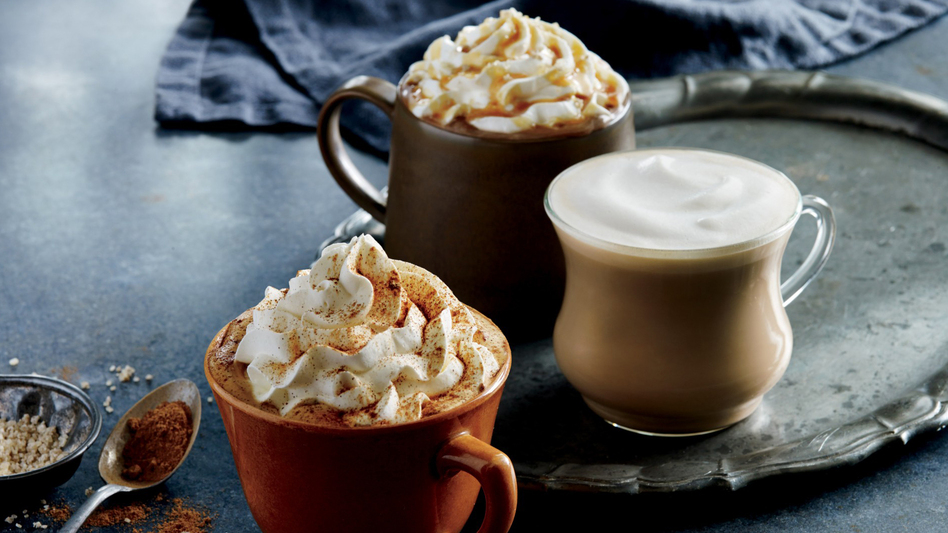 In some parts of the U.S., Starbucks is testing a latte flavored with roasted-stout notes along with its seasonal autumn drinks such as the Pumpkin Spice Latte, seen here at front. Starbucks