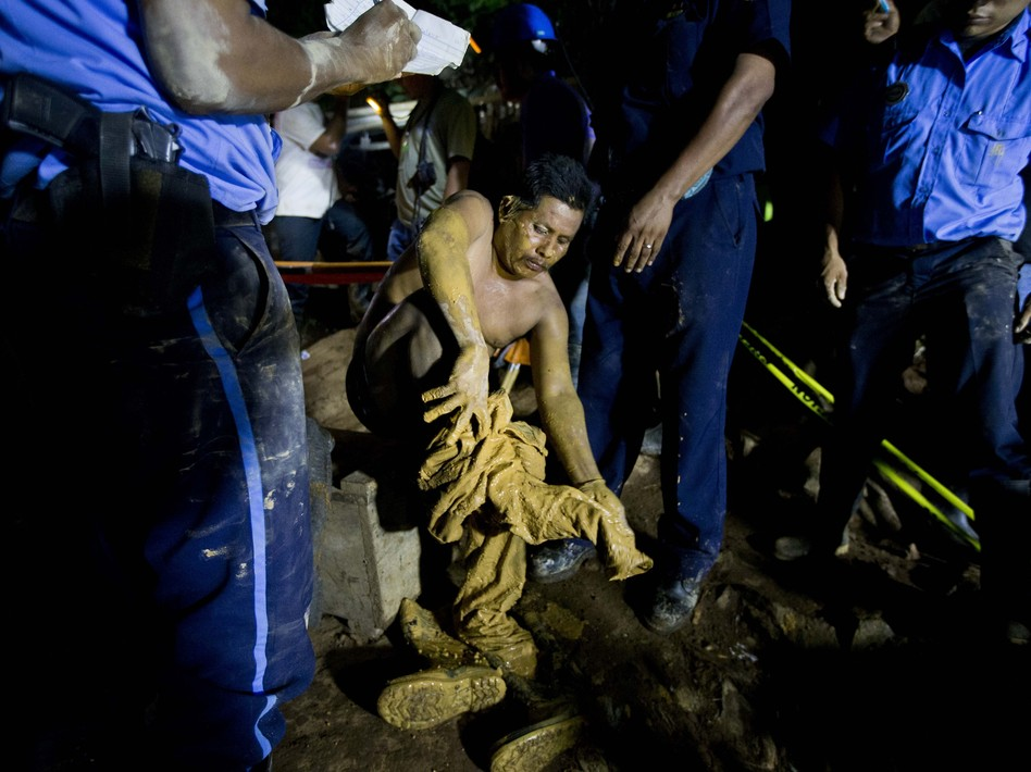 A miner after he was rescued at the El Comal gold and silver mine in Bonanza, Nicaragua, on Friday. A total of 26 were trapped after a collapse on Thursday. Esteban Felix/AP