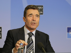 NATO Secretary General Anders Fogh Rasmussen on Monday. Yves Logghe/AP