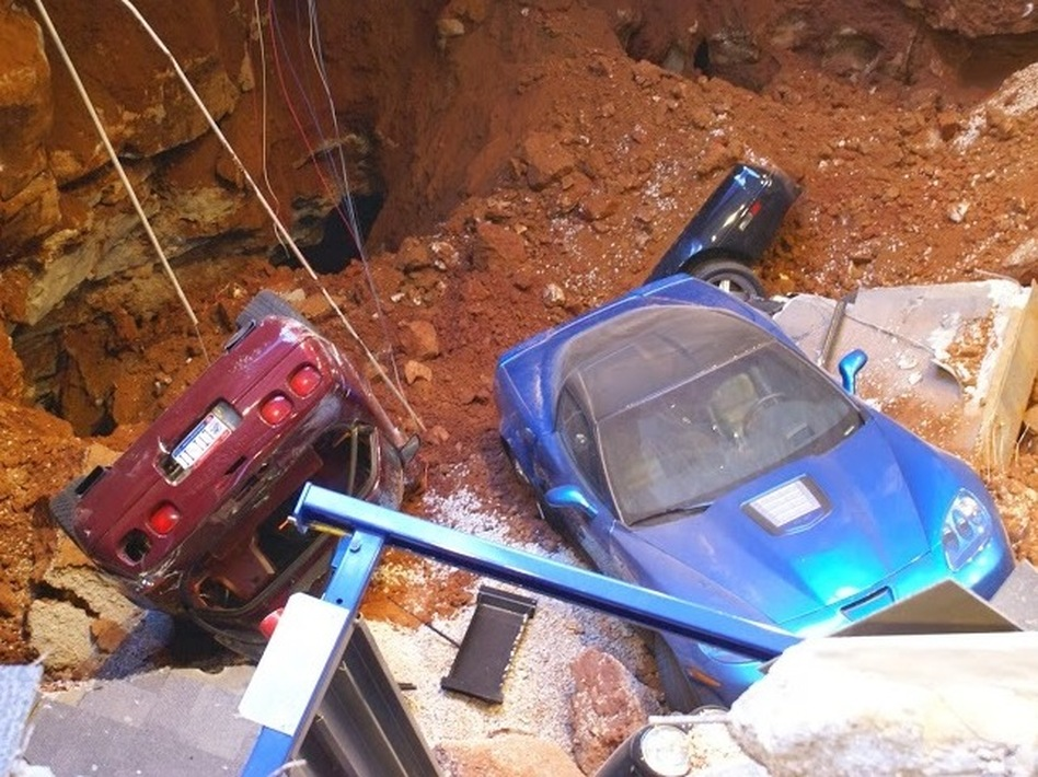 A glimpse of what it's like in the sinkhole that opened up Wednesday under a wing of the National Corvette Museum in Bowling Green, Ky. National Corvette Museum