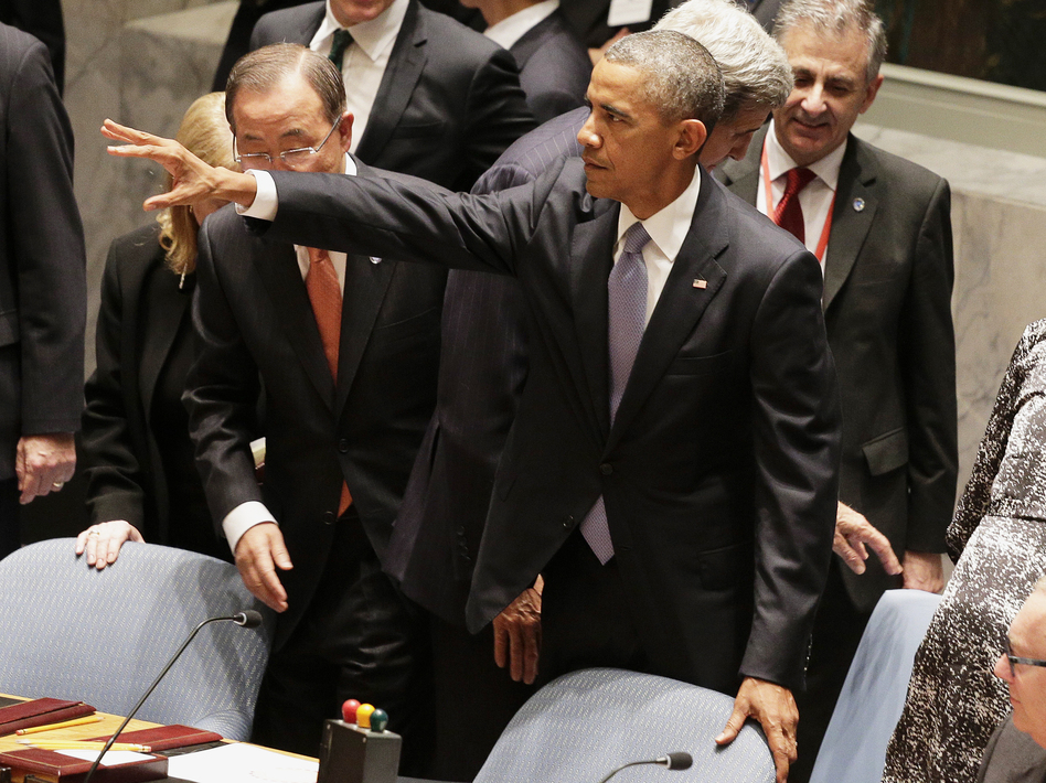 "The U.N. Security Council on Wednesday unanimously approved a historic resolution aimed at ending the flow of foreign extremists to the world's conflicts. President Obama thanked the council but warned that ""a resolution alone will not be enough."" Julie Jacobson/AP"