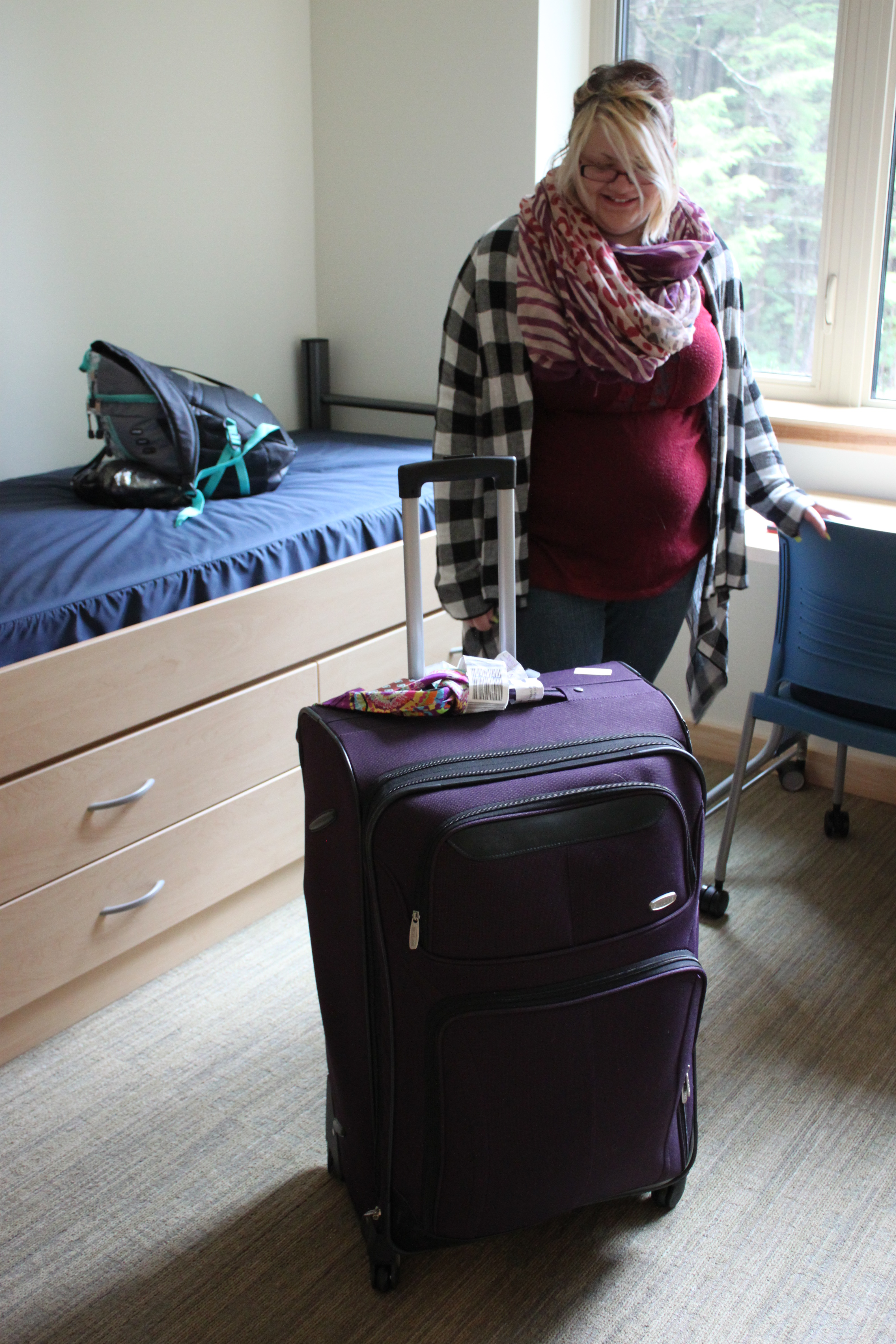 Samantha Ferguson from Indiana traveled light. While other students arrived at college with a carload of belongings, Ferguson moved to UAS with only one suitcase. (Photo by Lisa Phu/KTOO)