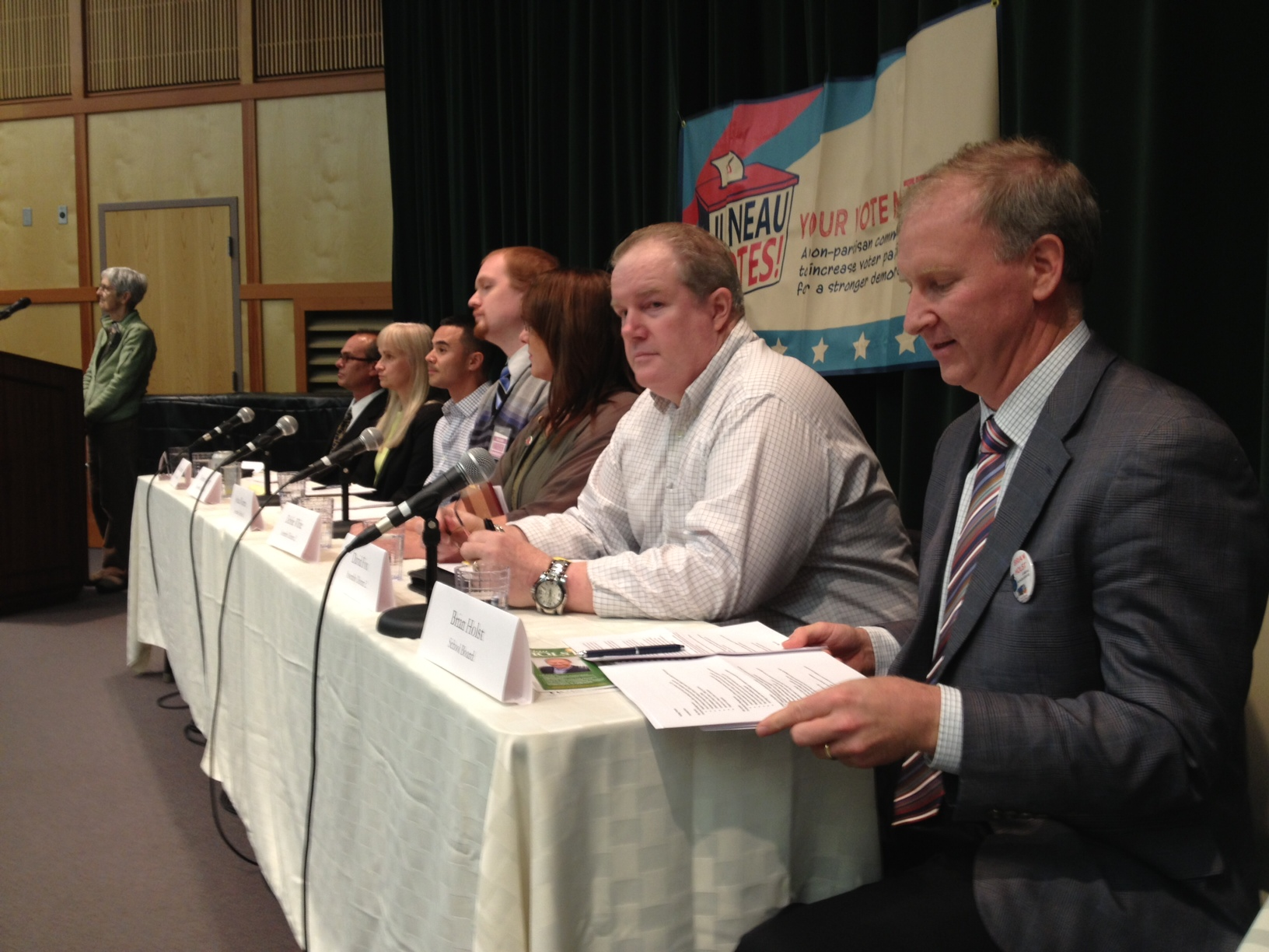 Six Juneau Assembly candidates and one school board candidate participated in a Juneau Votes Forum at UAS Wednesday. (Photo by Lisa Phu/KTOO)