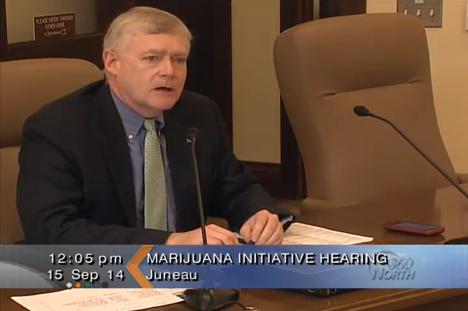 Lt. Gov. Mead Treadwell at a marijuana legalization initiative hearing on Sept. 15, 2014. (Video capture via Gavel Alaska)