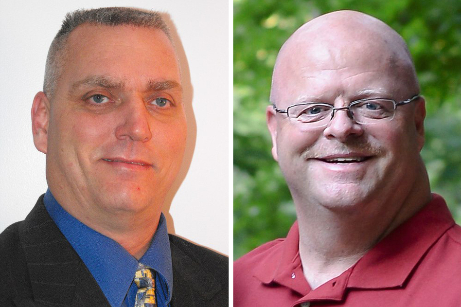 Scott Hildebrand, a Democrat, and Mike Jansen, a Republican, are competing to be the new sheriff in Campbell County, Ky., but they're also abiding by an agreement to keep their race clean. Images courtesy of the candidates