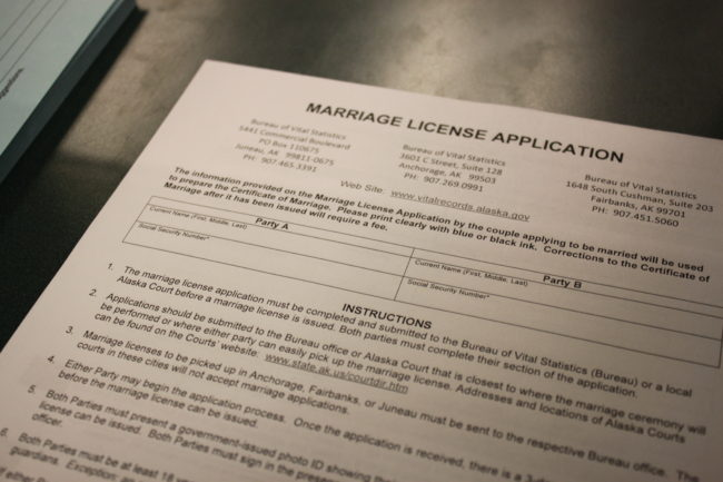 Alaska's marriage license application as of 8 a.m. October 13 after a federal judge on Sunday struck down Alaska's ban on gay marriages. (Photo by Lisa Phu/KTOO)
