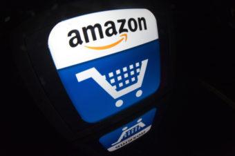 """An iPad with an """"Amazon"""" logo."""