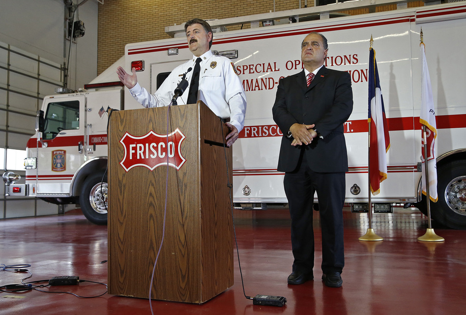 In Frisco, Texas, Fire Chief Mark Piland (left) and Mayor Maher Maso hold a press conference at the Central Fire Station on Wednesday.