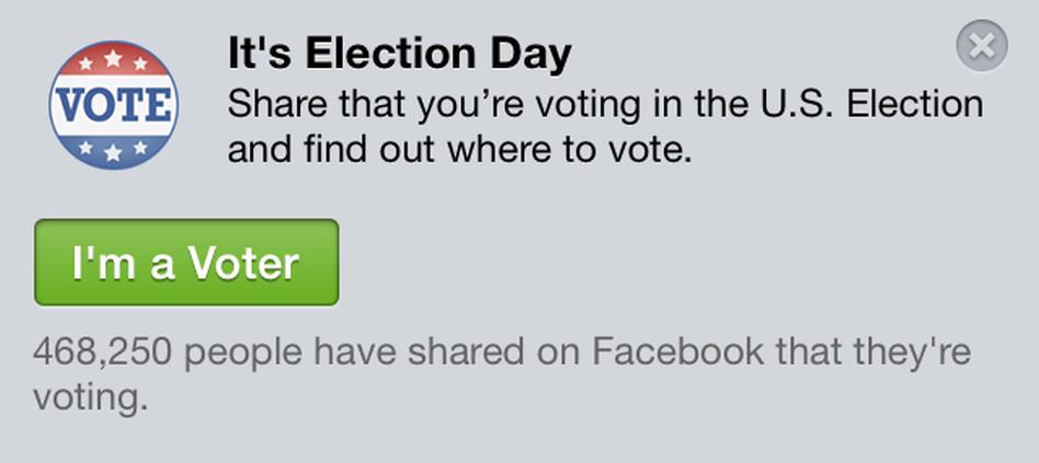 """Facebook's """"I'm a Voter"""" app. Screengrab"""