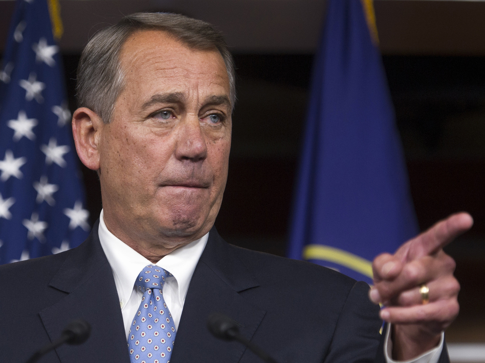 In a news conference Thursday on Capitol Hill, House Speaker John Boehner of Ohio warned President Obama not to go it alone on immigration reform. Cliff Owen/AP