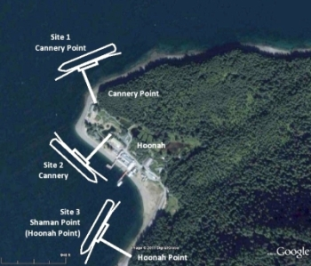 This image from the 2012 Hoonah Berthing Facility Site Alternative Analysis Report shows thee possible dock locations. (Courtesy PND Engineers)