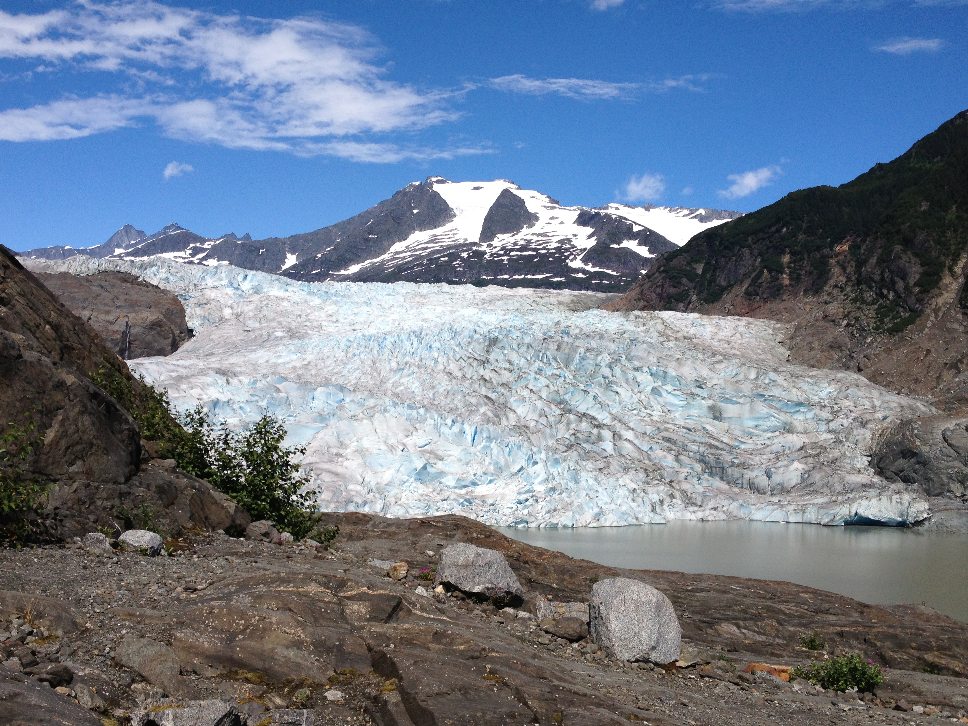 A view of the Mendenhall Glacier during the summer of 2013. (Photo by Lisa Phu/KTOO)