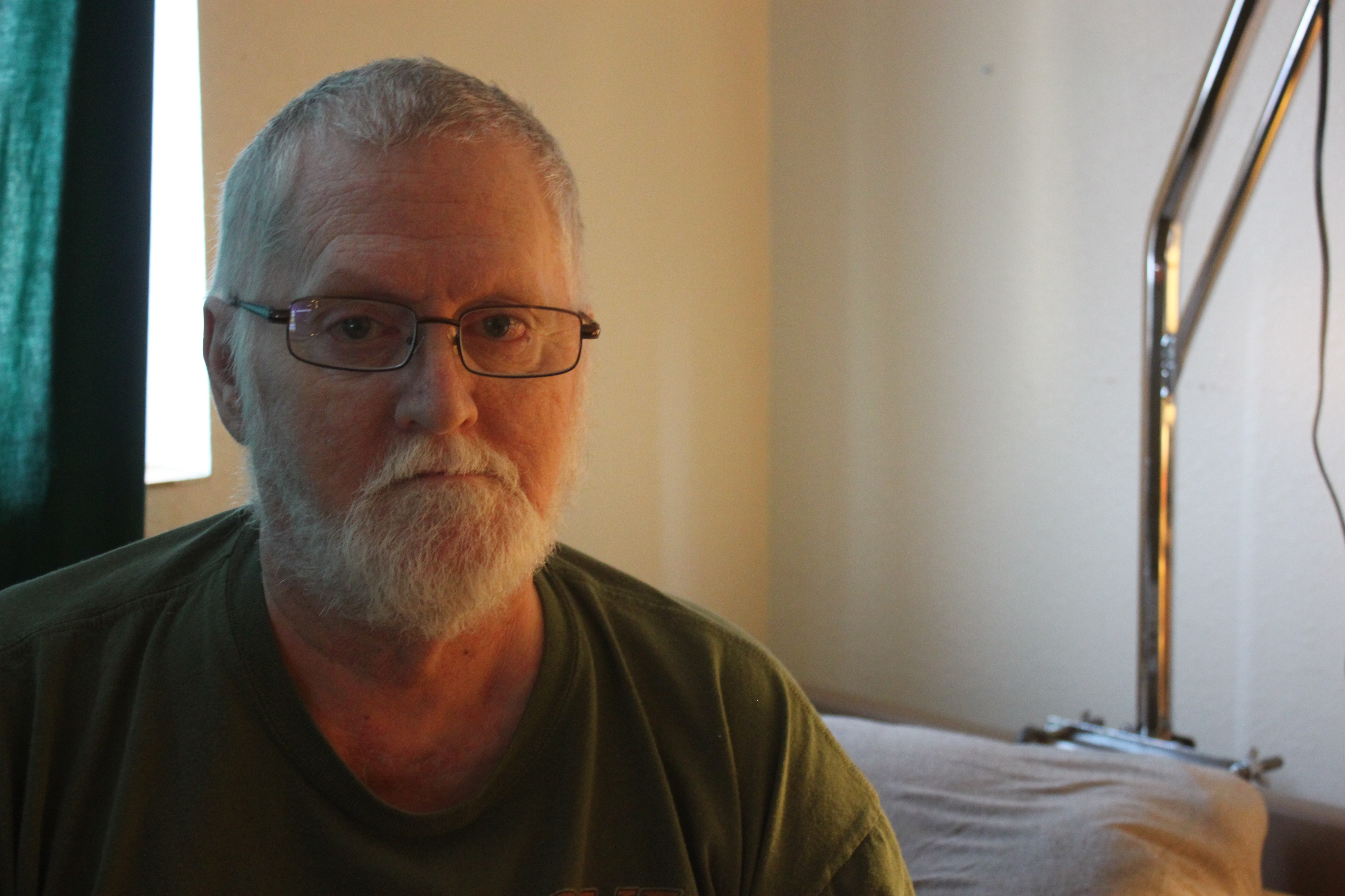 Thomas Smith has lived in St. Vincent de Paul's transitional housing for one year. (Photo by Lisa Phu/KTOO)