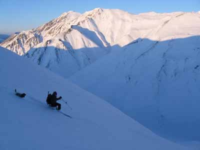 Michael Hopper says his dog, Rowdy, almost always accompanied him when he went backcountry skiing – like this 2010 outing in the Eastern Alaska Range near Black Rapids. (Image courtesy Mike Hopper)
