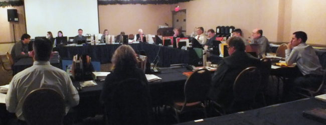 Alaska Board of Game takes public testimony during their January 2015 meeting in Juneau. (Photo by Matt Miller/KTOO)