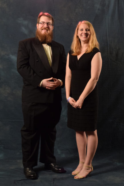 James Brooks and Anjuli Grantham. Brooks rented his tux from BrownBoots Costume Company in Douglas.  (Photo by Skip Gray/KTOO)