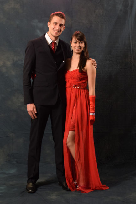 Quinten and Lindsey Hennekam.  Lindsey ordered a long, red Adrianna Papell dress online especially for the gala. Quinten's red tie was bought locally to match his wife's ensemble.  (Photo by Skip Gray/KTOO)