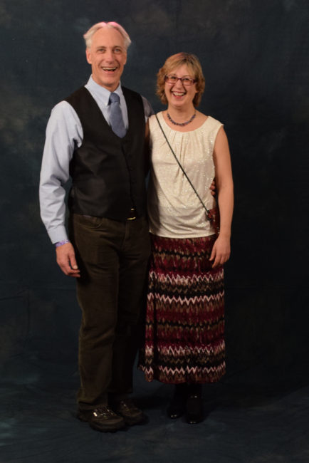 """Stephen Gasche and Therese Thibodeau. Gasche asked Thibodeau what he should wear, """"And I said, 'It's Juneau. You can wear what's comfortable but no jeans and t-shirt.'"""" (Photo by Skip Gray/KTOO)"""