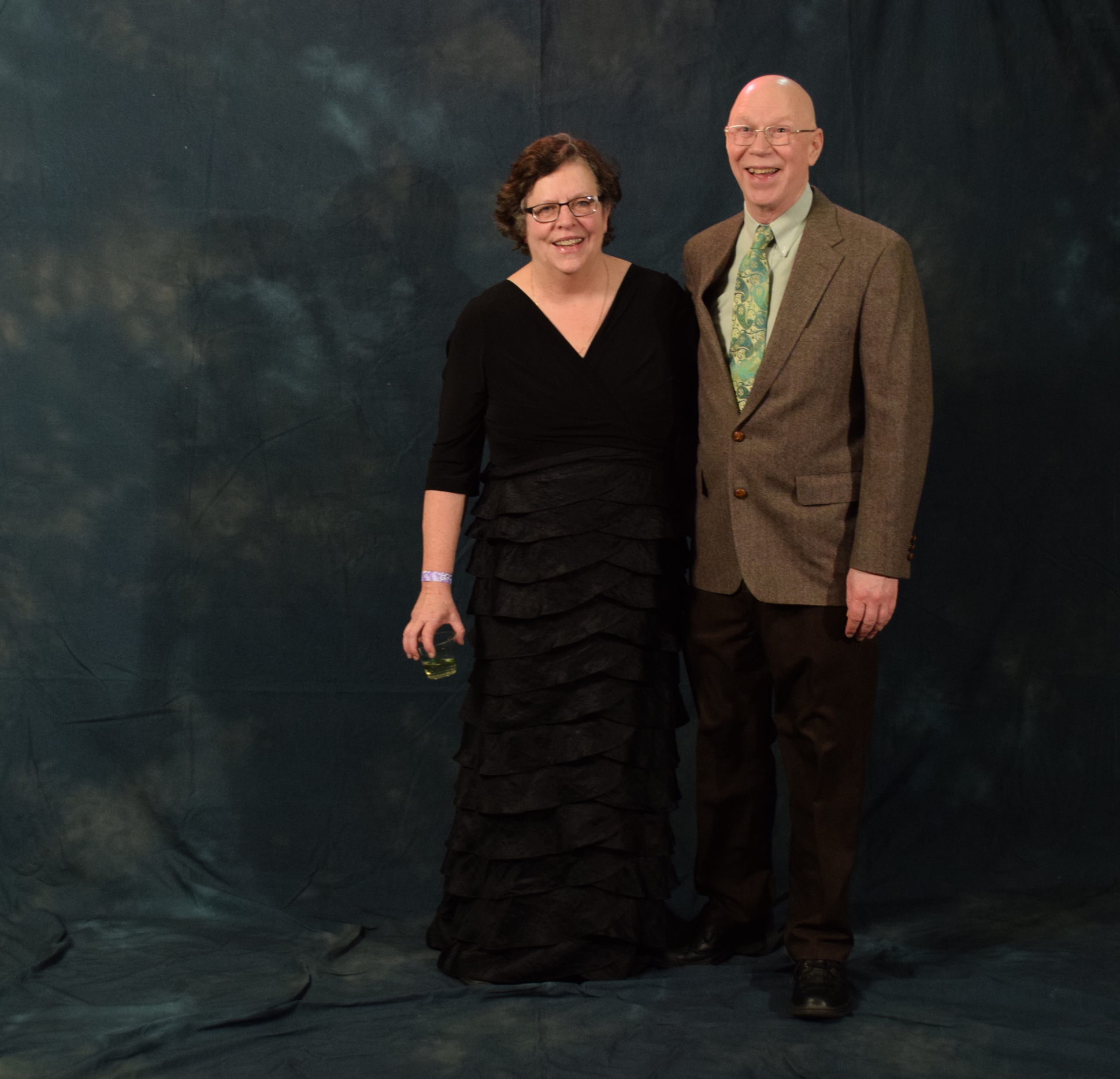 Jane Ginter and Bob Coghill.  Coghill received his green tie from a Tie of the Month Club.  (Photo by Skip Gray/KTOO)