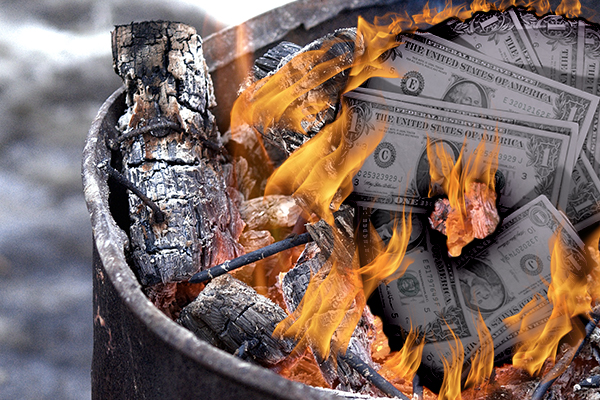 Flaming Oil Barrel Money