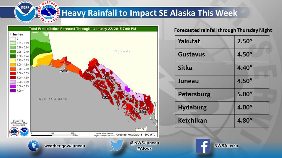 Heavy rains and winds throughout Southeast Alaska have prompted the National Weather Service to issue landslide and mudslide warnings. (Graphic courtesy National Weather Service)