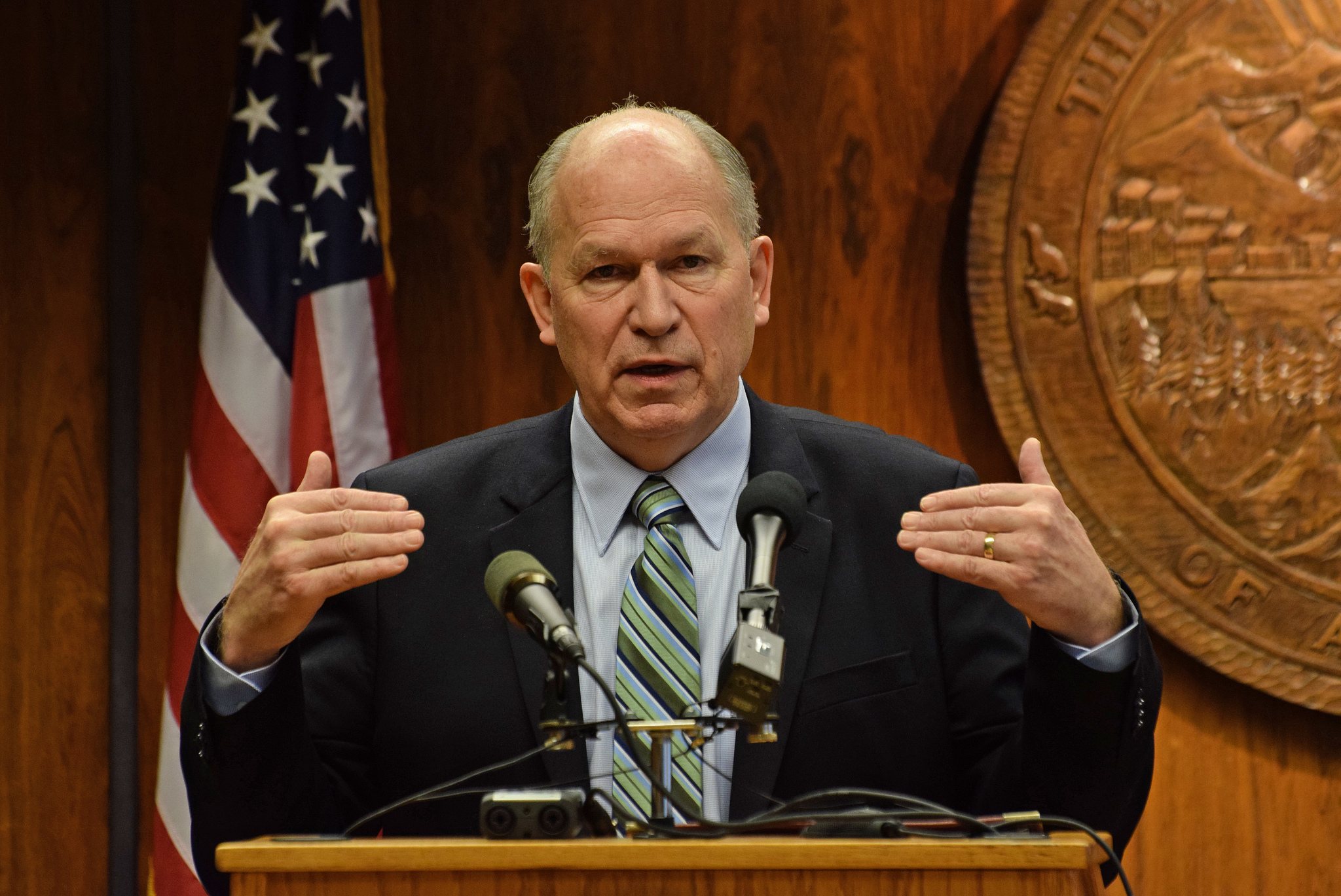Gov. Bill Walker addresses reporters at a press conference he called to discuss cuts to his version of the state budget, Feb. 5, 2015. (Photo by Skip Gray/360 North)